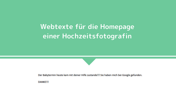 Webtexte für die Homepage einer Hochzeitsfotografin - Kundenmeinung